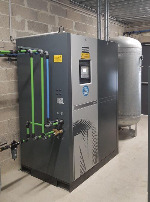 Installation d'une centrale d'air comprimé.